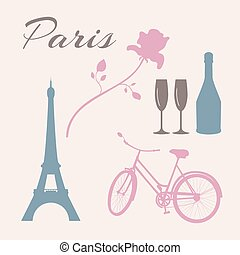 Flat icon set of Paris symbols.
