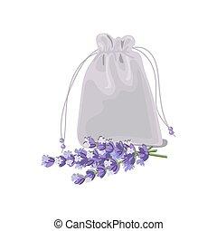 sachet textile bag - Textile sachet with lavender. cloth...
