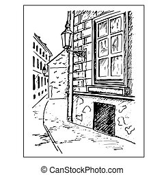 Old town street. Window and lantern. Hand drawn sketch....