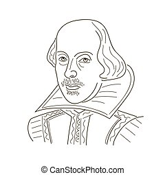 William Shakespeare. Sketch illustration. Black and white...