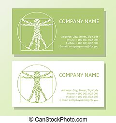Business card template set. Ecological concept sign.