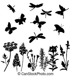 Silhouettes of grass, dragonflies and butterflies isolated