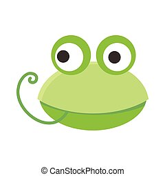 Frog Face Vector Illustration in Flat Design