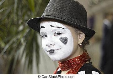 Porträt, m�dchen, Pantomime, Schauspieler