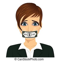 young corrupt woman with dollar bill taped to mouth. Bribery...