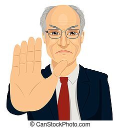 angry senior businessman with glasses showing stop gesture...