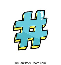 Hashtag. Pop art cool sticker, patch. Hash tag, Twitter,...