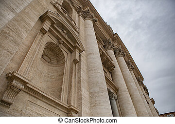 close up exterior of St. Peter's Basilica rome italy important traveling landmark in vatican