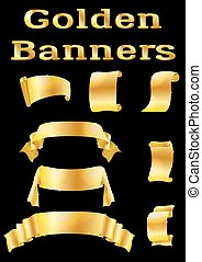Golden Banners, Set - Set of Shiny Golden Banners, Ribbons...