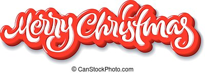 Merry Christmas calligraphic handdrawn lettering with puffy...