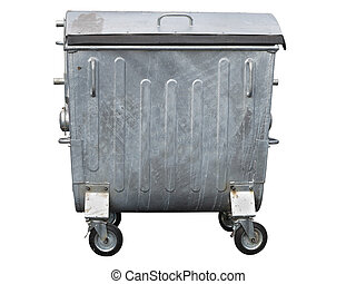 Big dirty metallic trash container isolated on white