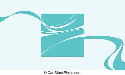 blue square with abstract smoke wave elements. template...
