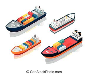Set of Seagoing Cargo Ships Feeder Vessels. Vector - Set of...