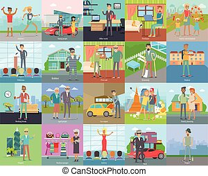 Human Banners Set. People Activities. Vector - Human banners...