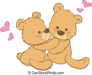 two cute teddy bears hugging, sweet teddy bears