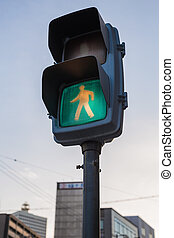 Crosswalk road sign in Japan with space for text.