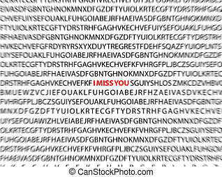 I miss you. Letters background.