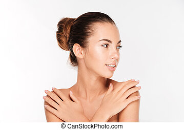 Beauty portrait of a woman with fresh skin looking away -...
