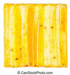 Handmade glazed ceramic tile - Yellow lined handmade glazed...