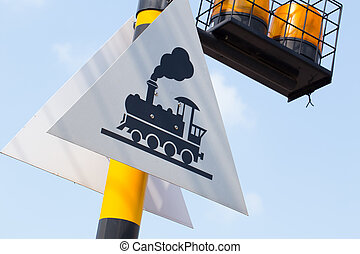 Train railway sign with copy space