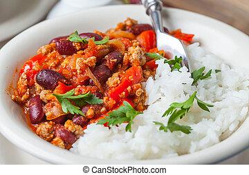 Chilli con carne. - Chilli con carne with paprika, tomatoes,...