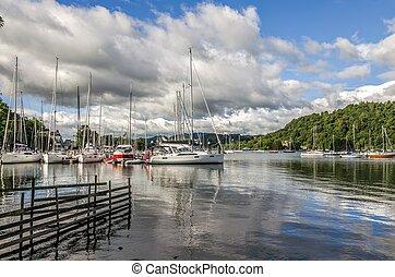 Sailboats at Bowness-on-Windermere - Sailboats in harbor at...