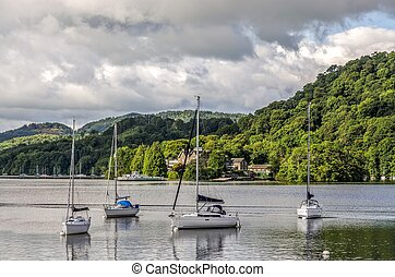 Sailboats in marina, Windermere at Bowness - Sailboats in...