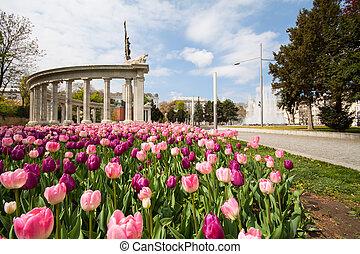 Schwarzenbergplatz, Vienna, landmark at town square of city...