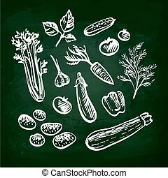 Set of vegetables. Hand drawn sketch on chalkboard.Vector...