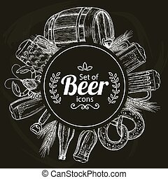 Round template with beer icons on black background
