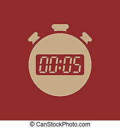 The 5 seconds, minutes stopwatch icon. Clock and watch,...