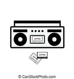 Boombox and cassette icon isolated on white.