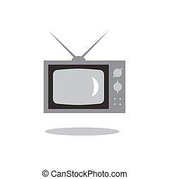 retro tv set icon isolated on white background