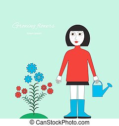 Floriculture picture. Woman with watering can standing near...
