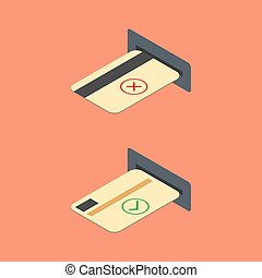 How to insert credit card into the ATM, vector illustration.