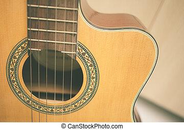 Guitar sound hole vintage color tone.
