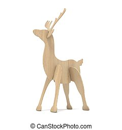 Wooden reindeer figurine. 3D