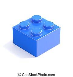 Blue plastic building block, children toy. Top view. 3D