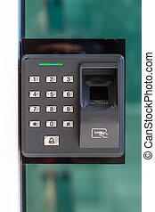 porta, scansione, serratura, dito, chiave, sicurezza