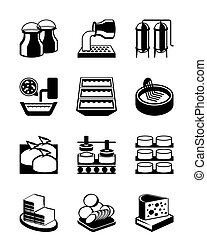 Cheese production process - vector illustration