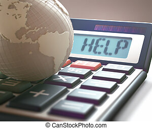 Global Finances And Business - Calculator with the word HELP...