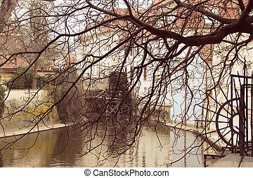 Water Mill on Vltava river in Prague, Czech Republic