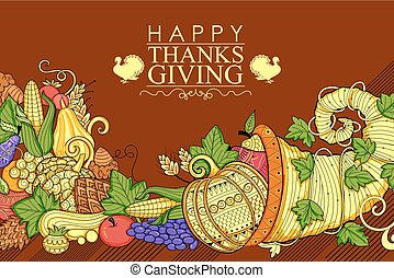 Happy Thanksgiving holiday doodle - illustration of Happy...
