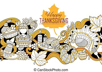 Happy Thanksgiving holiday doodle