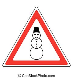 sign snowman attention road sign - caution snowman on the...