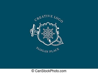 Creative Marine emblem, shield, anchor and steering wheel