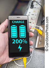 smart phone super speed charging with full battery on...