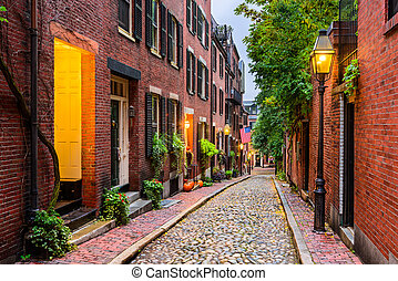 Boston, Massachusetts, USA - Acorn Street in Boston,...