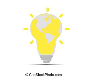 light bulb with a world globe - Illustration of an electric...