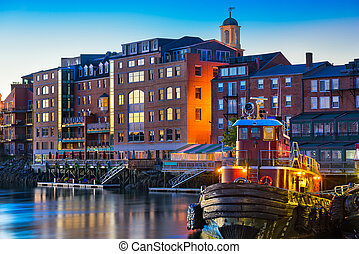 Portsmouth, New Hampshire, USA town skyline on the...